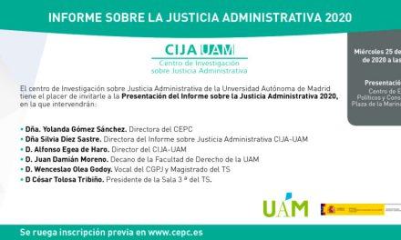 Publicado el Informe sobre la Justicia Administrativa 2020